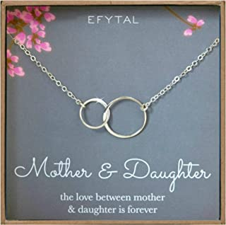 EFYTAL Mother Daughter Necklace - Sterling Silver Two Interlocking Infinity Double Circles, Mothers Day Jewelry Birthday Gift