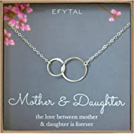 Mother Daughter Necklace - Sterling Silver Two Interlocking Infinity Double Circles, Mothers Day...