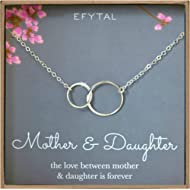 EFYTAL Mother Daughter Necklace - Sterling Silver Two Interlocking Infinity Double Circles,...