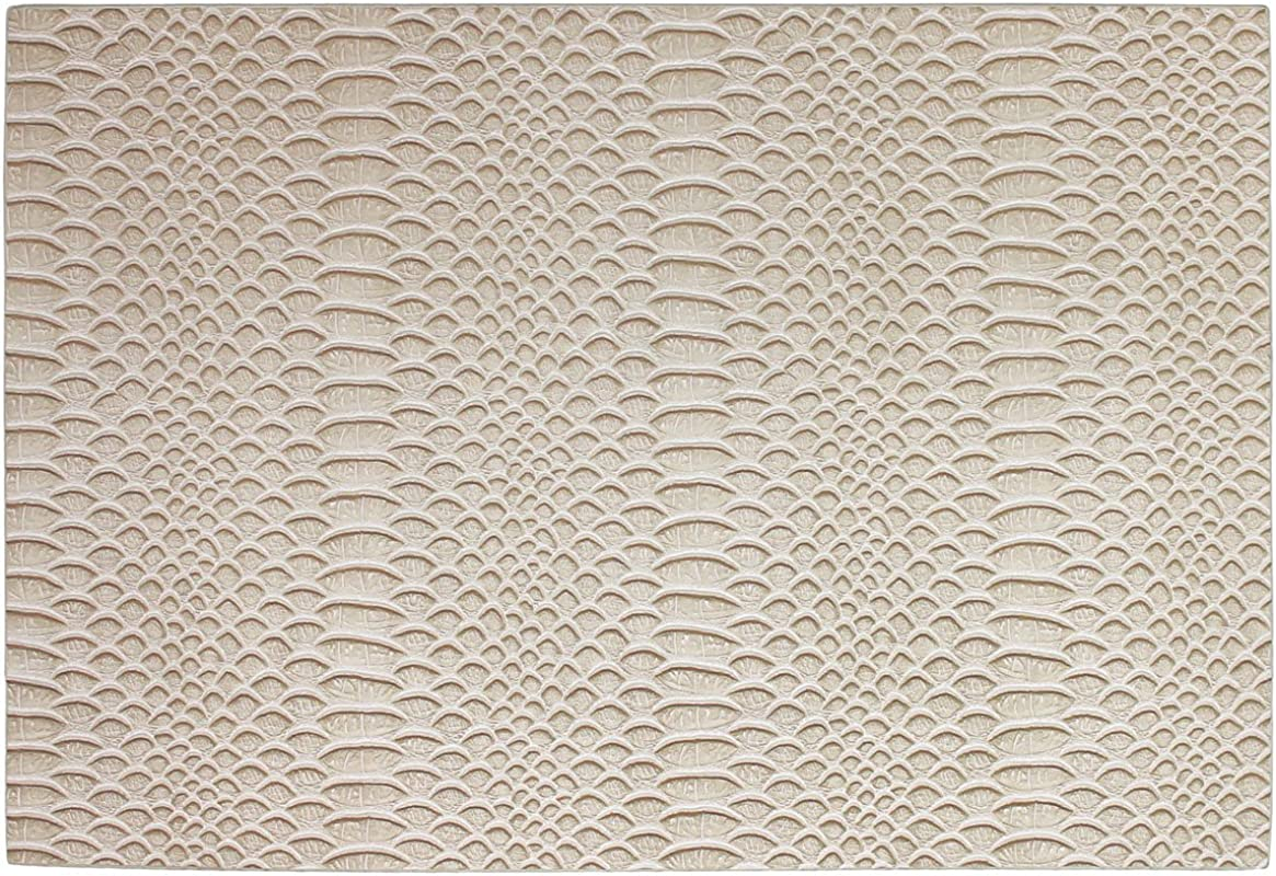Counterart Reversible Single Textured Wipe Clean Vinyl Placemat Taupe Snakeskin