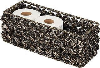 mDesign Natural Woven Seagrass Bathroom Toliet Roll Holder Storage Organizer Basket Bin; Use on Bathroom Countertop, Toile...
