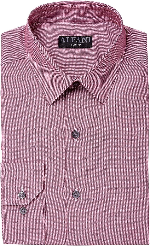 Alfani Men's Dress Shirt Burgundy Pinstriped Slim Fit Red XL