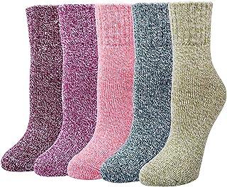 Calcetines termicos ricos en algodon para Muje-Ideales para invierno calcetines de algodón,calcetines térmicos EU 35-42 (5 Pares)