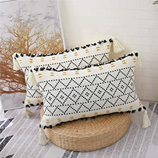 KKY Cotton Boho Decorative Throw Pillow Covers, Hand-Woven Tufted and Tasseled Throw Pillow Covers, for Sofa Bed, Bedroom ...