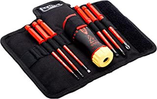 Bahco 808061 Insulated Ratcheting Interchangeable Blade Screwdriver Set, 1000 Volt