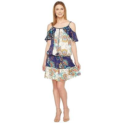 Hale Bob Sonic Bloom Rayon Stretch Satin Woven Cold Shoulder Dress (Navy) Women