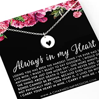 Always in My Heart • Memorial Charm Necklace • 925 Sterling Silver • Subtle Sympathy Gift • In Memory Of • Bereavement Jewelry • Sorry for Your Loss • Parent Husband Child Death • Remembrance Pendant