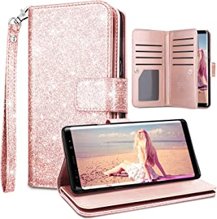 Fingic Samsung Note 9 Case,Note 9 Wallet Case,Glitter Sparkle Cover 9 Card Holder PU Leather Detachable Wrist Strap Wallet Case for Women Cover for Samsung Galaxy Note 9 2018(6.4inch),Pink