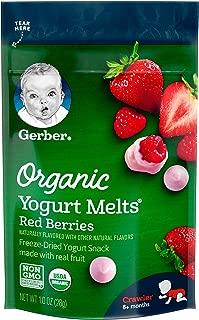 Gerber Organic Yogurt Melts Fruit Snacks, Red Berries, 1 Ounce (Pack of 7)