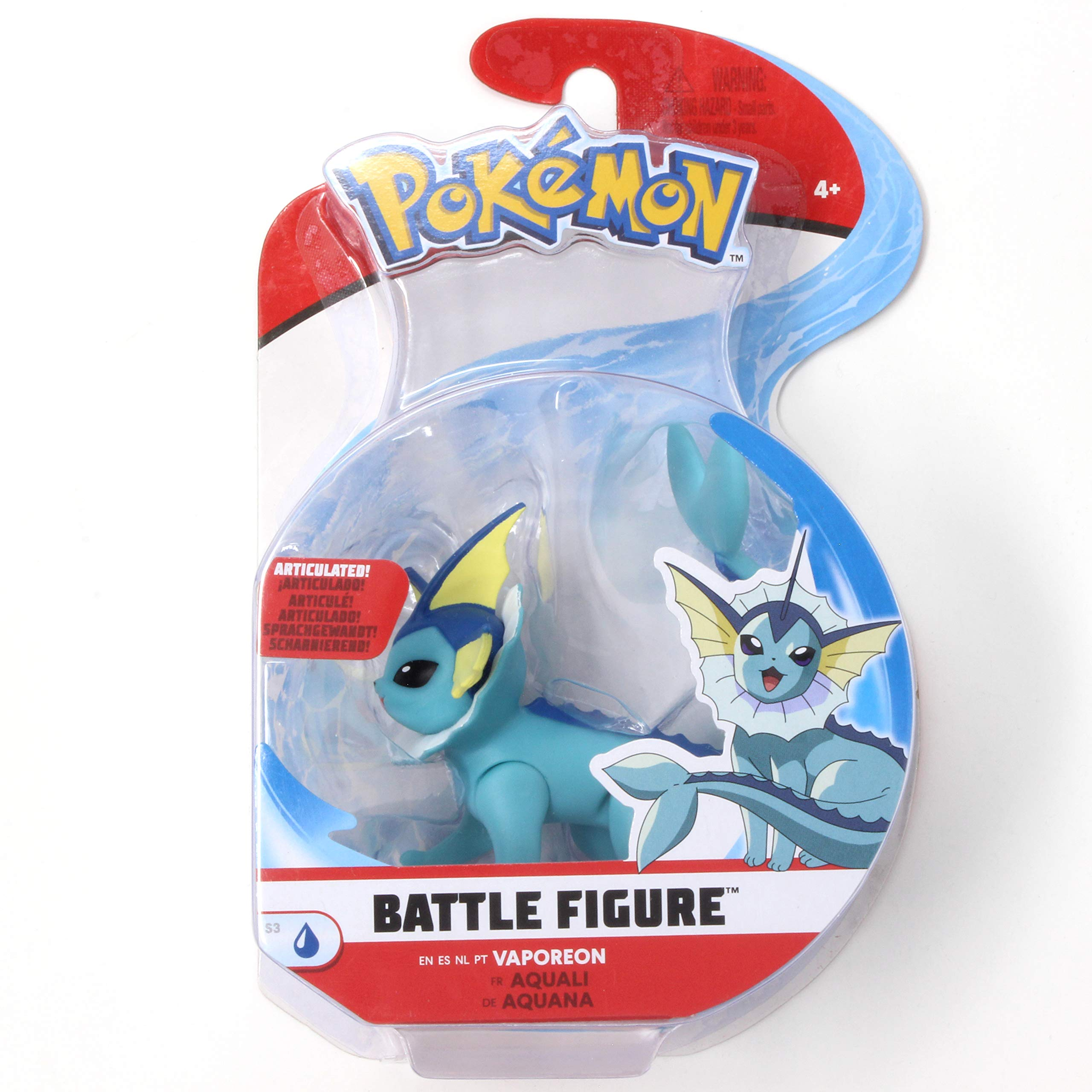 Amazon.com: Pokémon Battle Figure Vaporeon 3 Inch Series 3 Single Pack:  Toys & Games