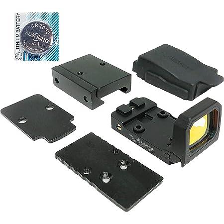 [AERITH BLACK] 最新レンズ flip dot タイプ レプリカ フリップ ドットサイト ダットサイト 刻印入り 20mmレイル対応マウント 電池付 マウントアダプター 2種付属 FD BK B