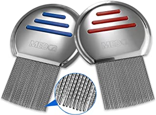 MEDca Lice Comb (Pack of 2) Stainless Steel Professional Lice Combs and Head Lice Treatment to Effectively Get Rid of Hair Lice and Nits, Best Results for Infection and Re-Infection in Kids & Adults