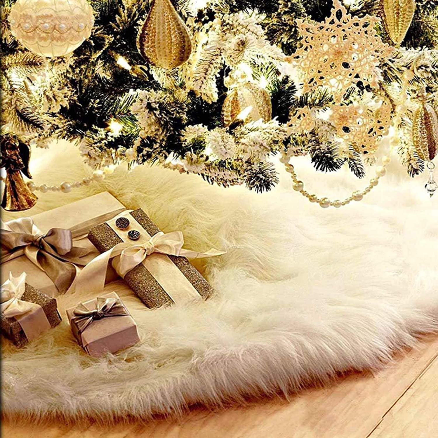 NANNY HIDDEN Christmas Tree Skirts, Luxury Faux Fur White Christmas Tree Skirts for Xmas Tree Decorations Party Home Office Holiday Décor (30 inch)