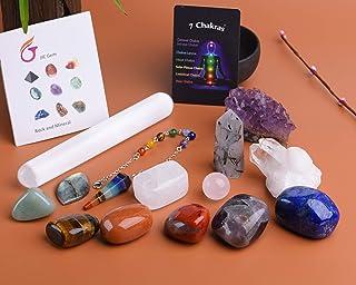 JIC Gem 14 Pcs Healing Crystals for Chakra Balancing: tumbles Stones,Crystal Quartz Pendulum, Amethyst Cluster, Raw Rose Q...