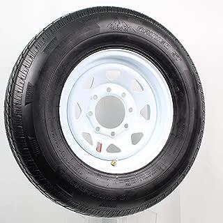 Radial Trailer Tire On White Rim ST235/80R16 Load E 8 Lug On 6.5 Spoke Wheel