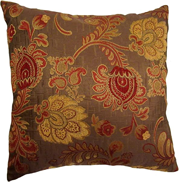 24x24 Burgundy And Gold Floral Brocade Decorative Throw Pillow Cover Reino Collection