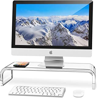 AboveTEK Premium Acrylic Monitor Stand, Custom Size Monitor Riser/Computer Stand for Home Office Business w/Sturdy Platfor...