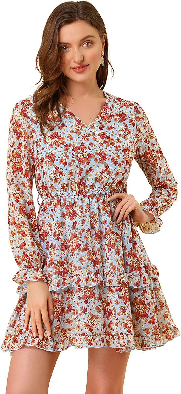 Allegra K Women's Casual Long Sleeve V Neck Elastic Waist Ruffle Hem a Line Floral Dress