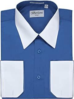 11b076853a6 Berlioni Men s Two Toned Dress Shirt with Convertible Faux French Cuffs -  Many Colors