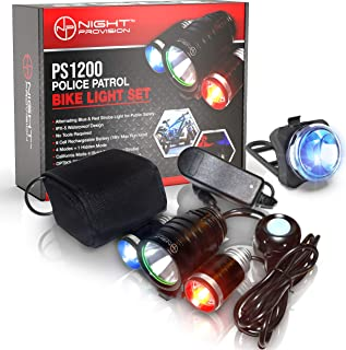 Night Provision PS1200v2 Front & Rear Police Bike Light Set: 1200 Lumens - Rechargeable 18hr Max - Water Proof - 5 Modes - Red/Blue Strobe LED - Real Police Patrol Lights for Bicycles