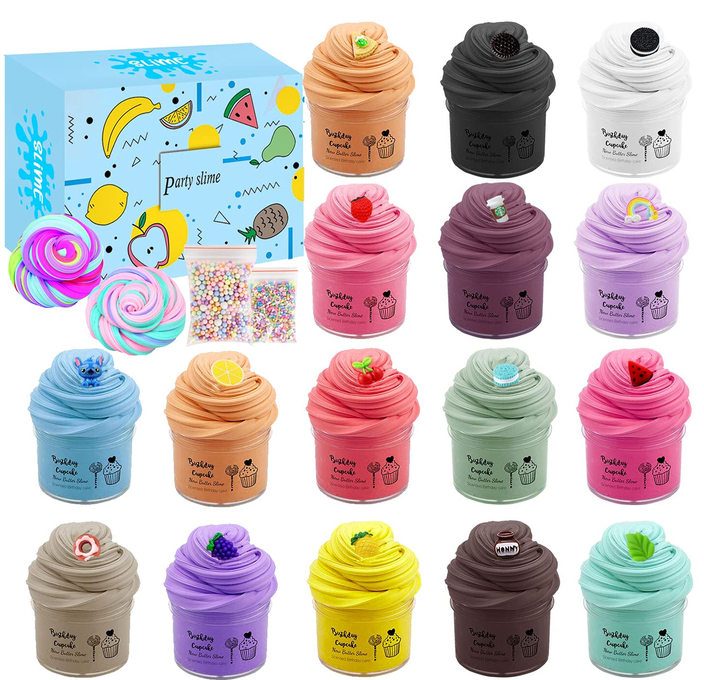 sloueasy 16 Pack Butter Slime Kit, with Mint Slime, Watermelon Slime, Coffee Slime, Lemon Slime, Rainbow Slime and Cake Slime Super Soft & Non-Sticky, Birthday Gifts for Girl and Boys