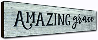 Amazing Grace Rustic Wall Art Decor Plaque – 16 x 3.5 Inches - Christian Quotes on Wooden Frame - Handcrafted in an Amish Community in USA From Real Pine Wood, Housewarming Gift Ideas – Weathered Gray