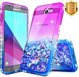 NageBee Glitter Liquid Flowing Sparkle Bling Diamond Case, Purple/Blue for Samsung Galaxy J7 2017 (J727), J7 Prime, J7 Sky Pro, J7 V/J7V, J7 Perx (Tempered Glass Screen Protector)