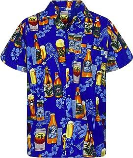 V.H.O. Funky Hawaiian Shirt Men Short Sleeve Front-Pocket Beerbottle Multiple Colors