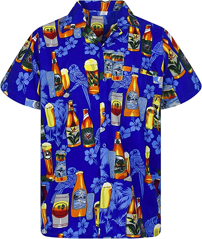 Funky Camisa Hawaiana Señores | XS -12XL | Manga Corta | Bolsillo Delantero | impresión De Hawaii| Botella de Cerveza