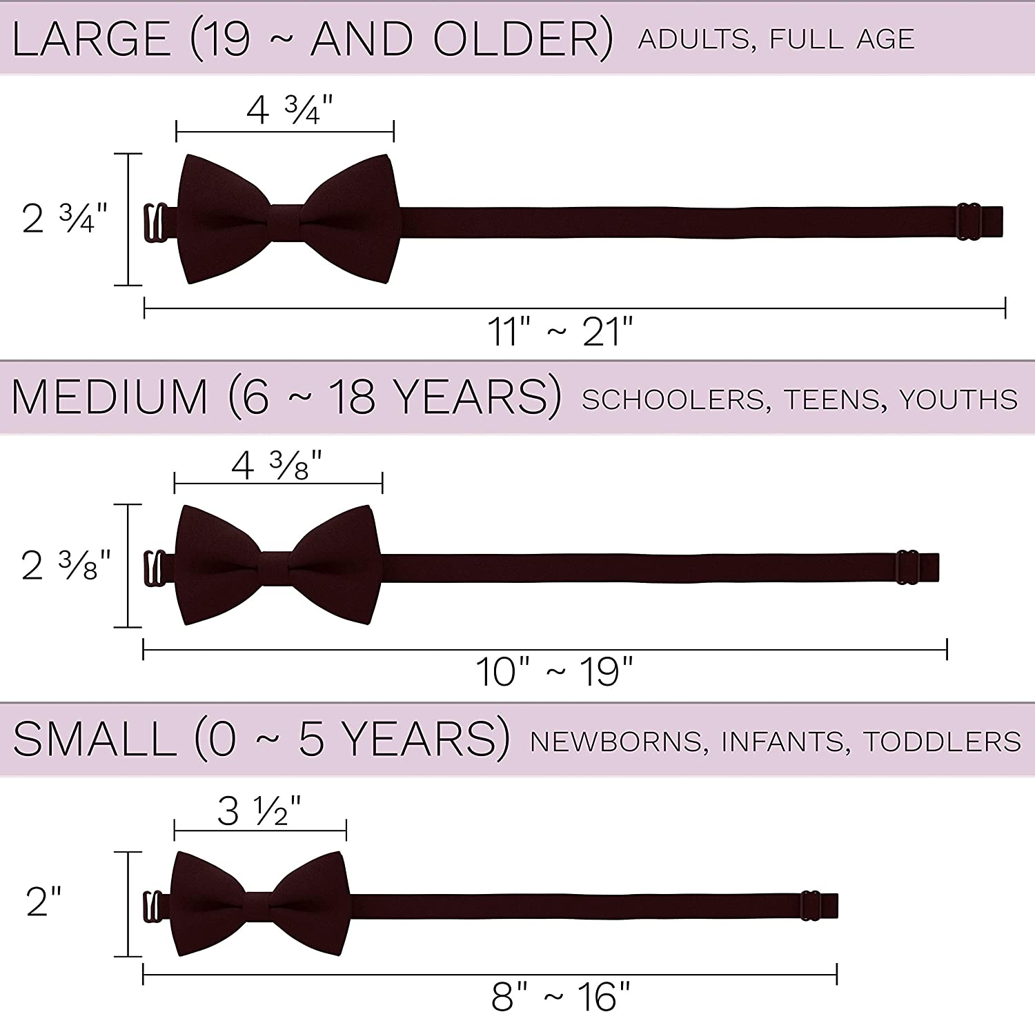 by Bow Tie House Classic Pre-Tied Soft Crape Bow Tie for Wedding Formal Events Solid Tuxedo for Adults /& Children
