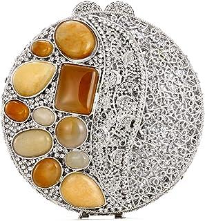 Agate Rhinestone Clutch Bag Women's Luxury Full Diamond Color Crystal Evening Bags Metal Chain Mini Handbag