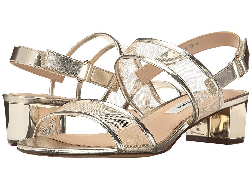 60s Shoes, Boots | 70s Shoes, Platforms, Boots Nina Ganice White Gold Metal FoilMesh Womens Sandals $79.00 AT vintagedancer.com