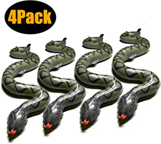 WUQID Inflatable Snake, Inflatable Scary Float Fake Snake Print Toy Snake for Pool Garden Party Farm, 37inch (4 Pack)