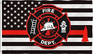Bonsai Tree Thin Red Line Firefighter Flag 3x5 Ft Double Sided and Double Stitched Police Flags with Brass Grommets American Fire Garden House Outdoor Banners
