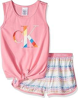 Calvin Klein Girls' 2 Piece Sleepwear T-Shirt and Shorts Pajama Set Pj