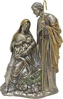 High-End Decor - Traditional Nativity Scene Sculpture Statuette - Religious Art Home Christmas Metallic Decoration - Nickel/Brass (10.5 inches)