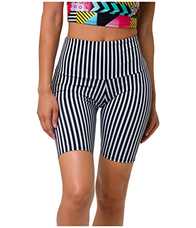 Onzie Biker Shorts (Black/White Stripe) Women