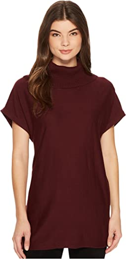 Short Sleeve Drop Shoulder Turtleneck Sweater