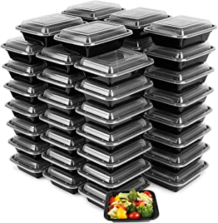 50-Pack Tiny Meal Prep Plastic Microwavable Food Containers Meal prepping & Lids. 12 OZ. Black Rectangular Reusable Storage Lunch Boxes -BPA-Free Food Grade- Freezer Dishwasher Safe -Premium Quality
