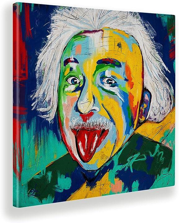 Quadro Einstein Giallobus - Tela Canvas - 100x100 - Pronto da Appendere - Quadri Moderni per la casa B07XJQLFNR
