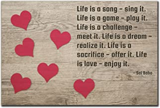 Mundus Souvenirs Life is a song - sing it. Life is a game. quote by Sai Baba printed on wooden plaque - Size: 6