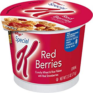 Kellogg's Special K, Breakfast Cereal in a Cup, Red Berries, Bulk Size, 12 Count (Pack of 12, 2.5 oz Cups)