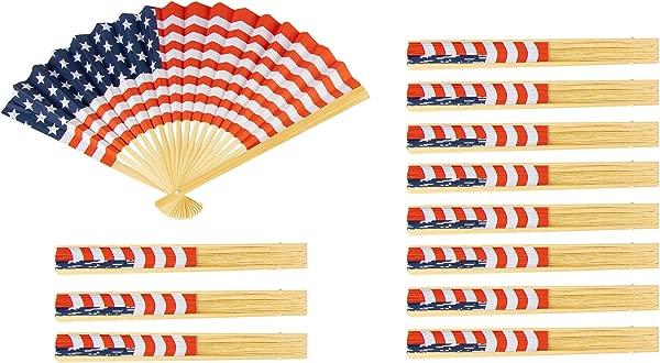 美国国旗扇子 12 只装美国国旗扇子爱国党偏爱手持折纸扇子红色白色和蓝色 14 2X10 英寸