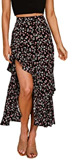 Women Boho Floral Print Long Skirt Dress Chic High Low...