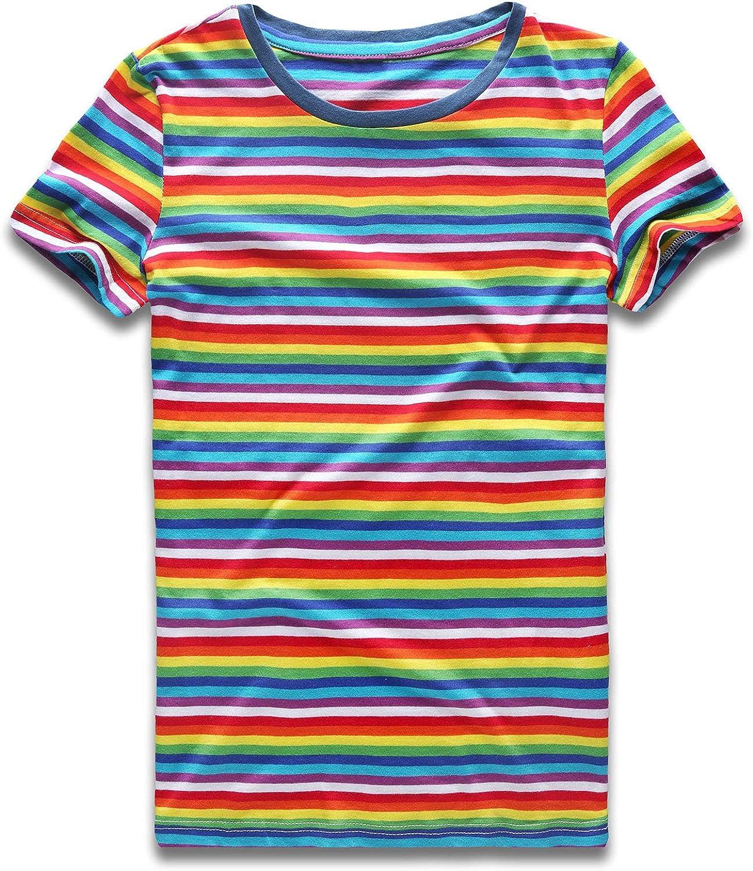 Rainbow T Shirt Women Striped Tee Crew Neck Short Sleeve Stripes Tops Fashion