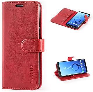 Mulbess Cover per Samsung Galaxy S9, Custodia Pelle con Magnetica per Samsung Galaxy S9 [Vinatge Case], Vino Rosso