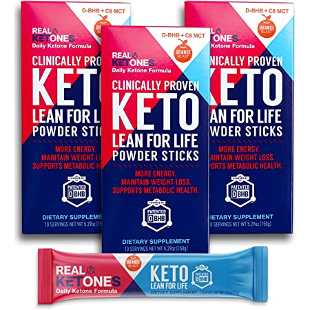 Real Ketones Prime D- Exogenous Keto D BHB + MCT + Electrolytes- Drink Mix Supplement Powder, 30 Packets- Orange Blast