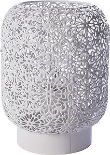 LUSSIOL Lampe de chevet Zephir, lampe décorative métal, 40 W, blanc, ø 15 x H 20 cm