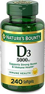Vitamin D3 by Nature's Bounty for Immune Support. Vitamin D Provides Immune Support and Promotes Healthy Bones. 125 mcg (5...