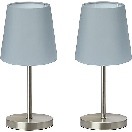 """Trango 2 pack lampe de table Lampe de chevet lampe de bureau Lampe""""Gray"""" avec abat-jour en tissu gris 2TG2017-08G - Ø 170 mm, hauteur: 350 mm"""